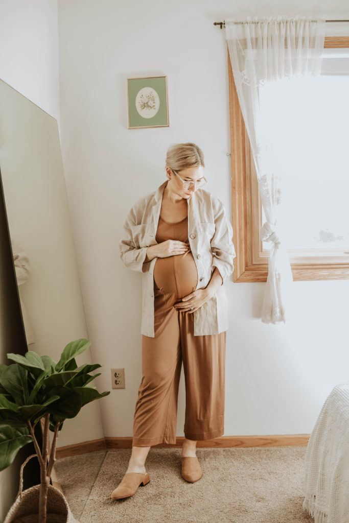 casual maternity outfits, everlane cotton jumpsuit toasted coconut, linen jacket, nisolo mules
