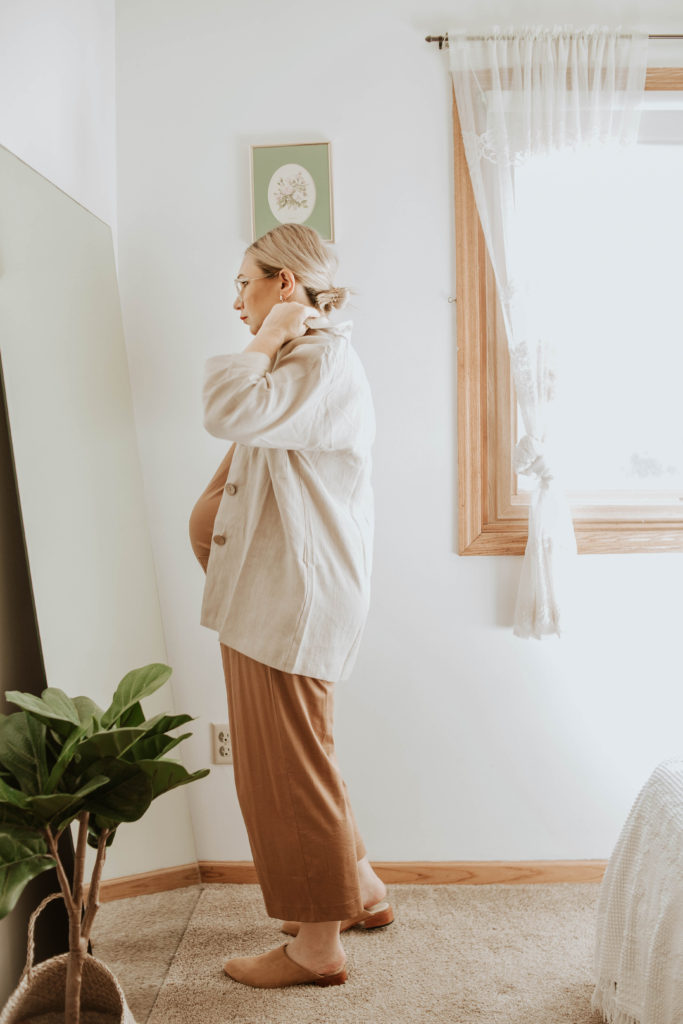 everlane cotton jumpsuit toasted coconut, linen jacket, nisolo mules, messy low bun