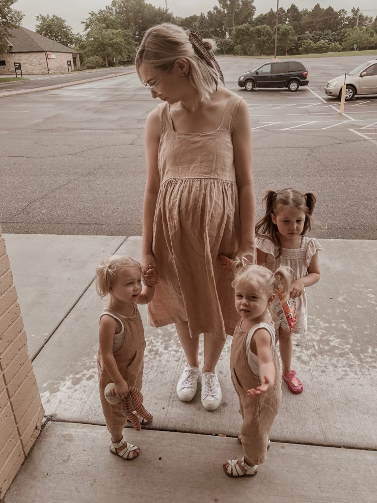 Blush Colored Linen, Blush Dress, Dusty Rose linen, Dusty Rose Dress, Veja Sneakers, Veja Canvas Sneakers, Mother Daughter Outfits, Mother of Twins