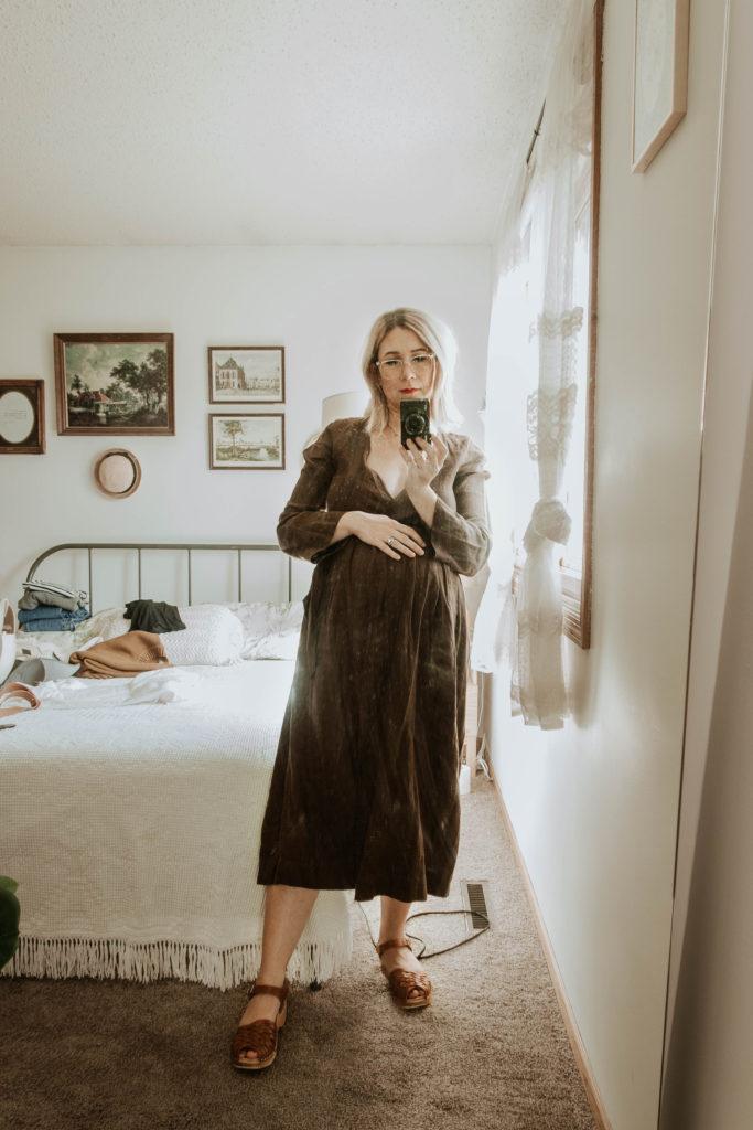 brown linen dress, sugar candy mountain dress, troentorp clogs, anna clogs