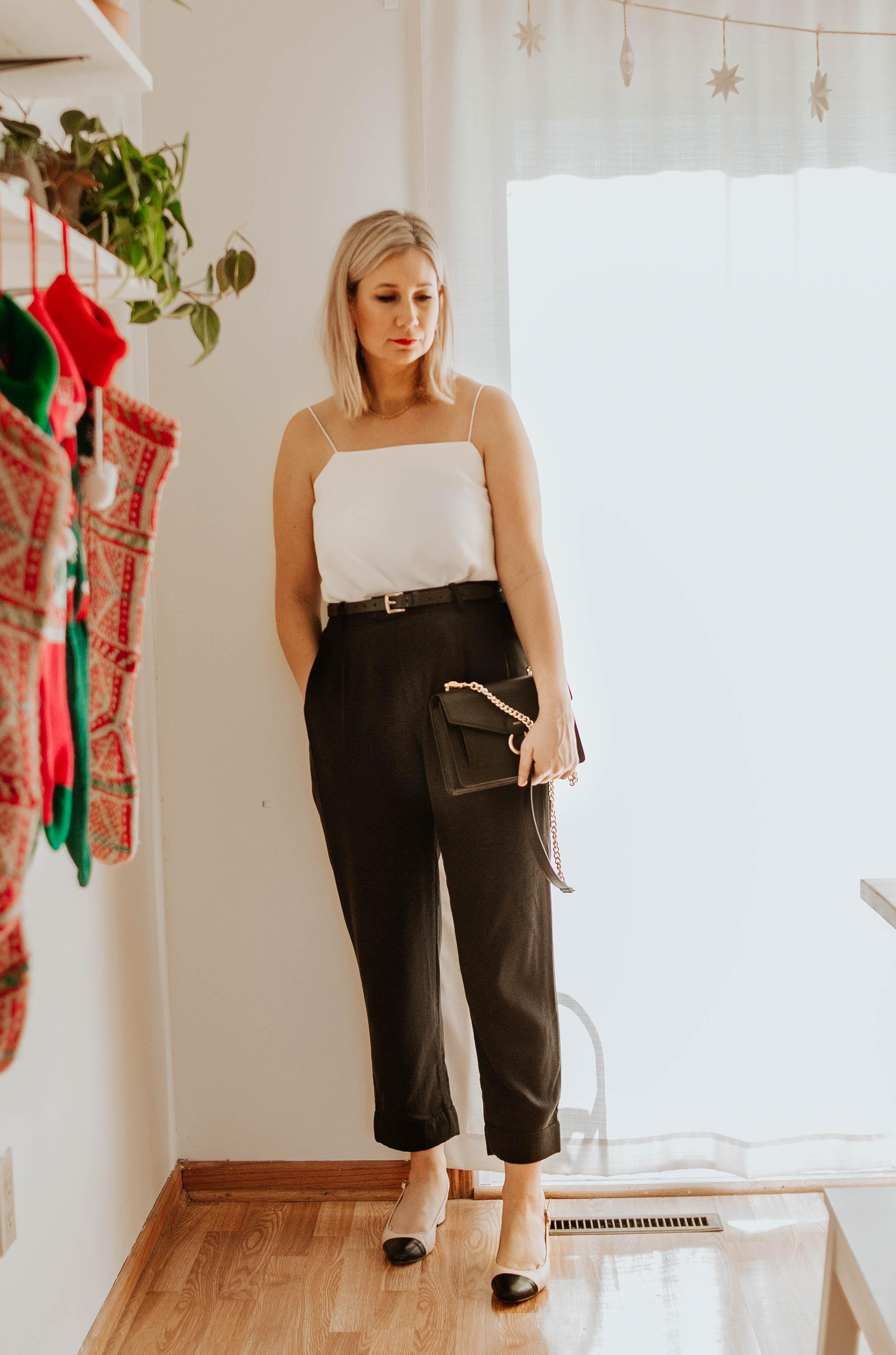 Mini Holiday Lookbook Featuring Ethical Fashion, white cami, black trousers, everlane pleat pants, everlane goweave black chain bag, cap toe slingbacks, chanel slingbacks