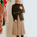 Mini Holiday Lookbook Featuring Ethical Fashion, black turtleneck sweater, brass blazer, black blazer, belted blazer, taupe silk skirt, bias cut silk skirt, black knee high boots, everlane knee high boots