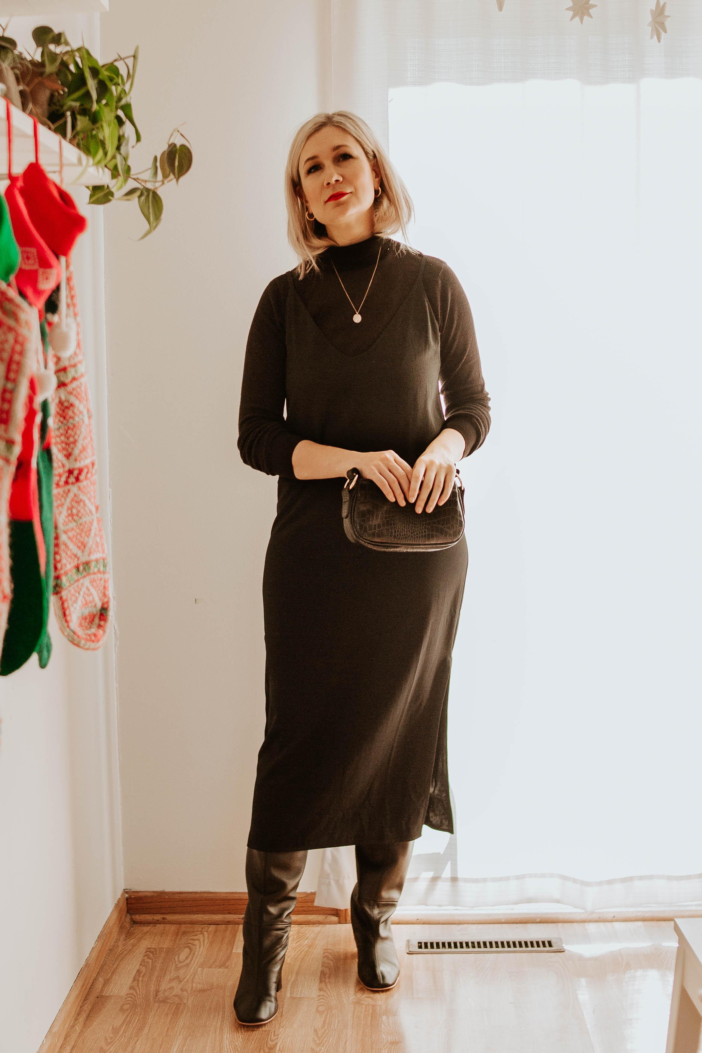 Mini Holiday Lookbook Featuring Ethical Fashion, black turtleneck sweater, everlane slip dress, black knee high boots, everlane knee high boots, mini croc bag