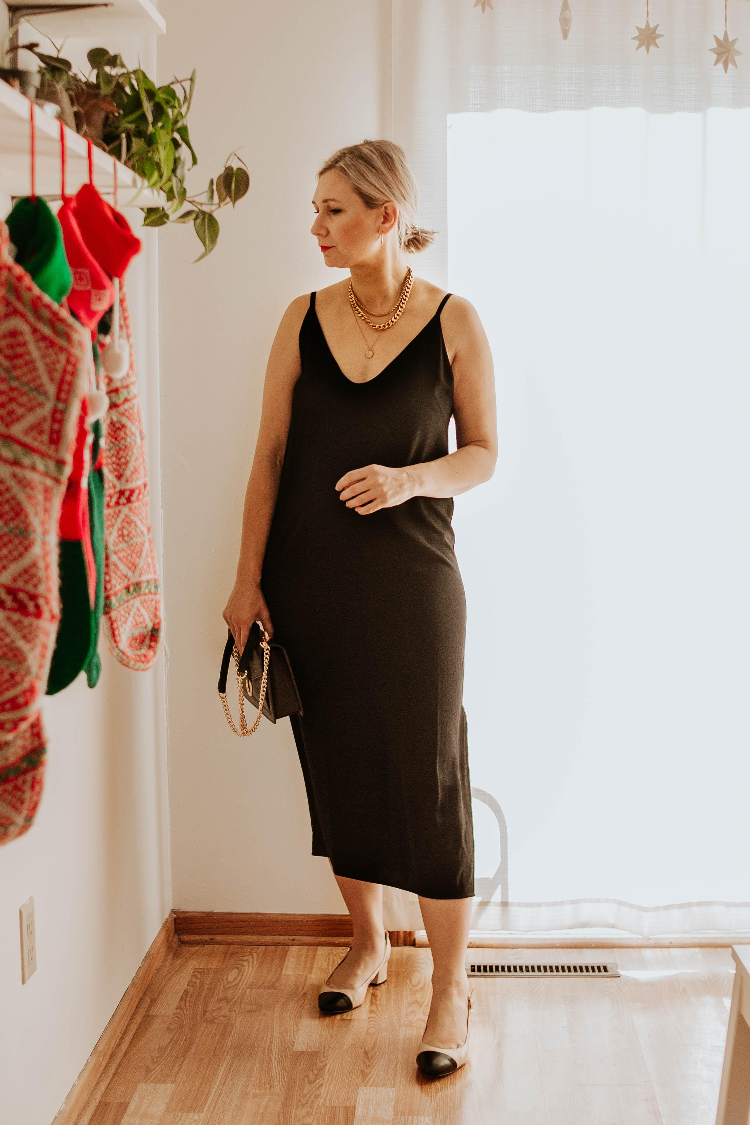 Mini Holiday Lookbook Featuring Ethical Fashion, everlane slip dress, black slip dress, black chain bag, cap toe slingbacks, chanel slingbacks