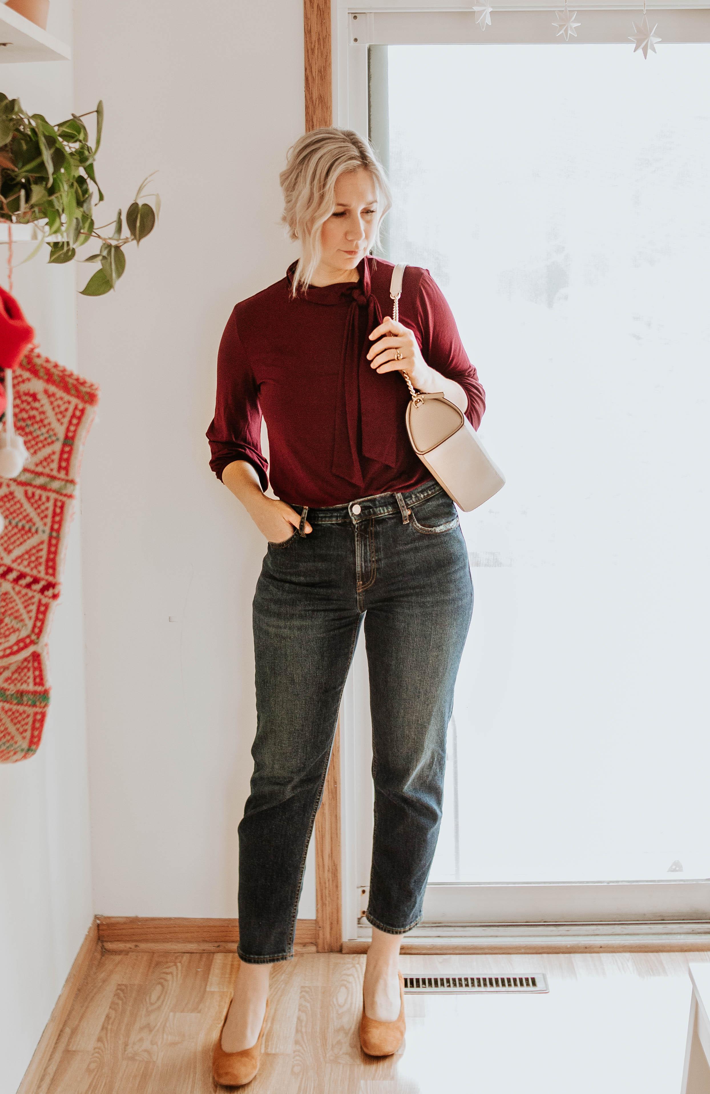 Mini Holiday Lookbook Featuring Ethical Fashion,tie neck blouse , amour vert,,colorful blouse , everlane day heels, Kate Spade Karen Nichols Street Bag Shoulder Rose Cloud Beige Nude