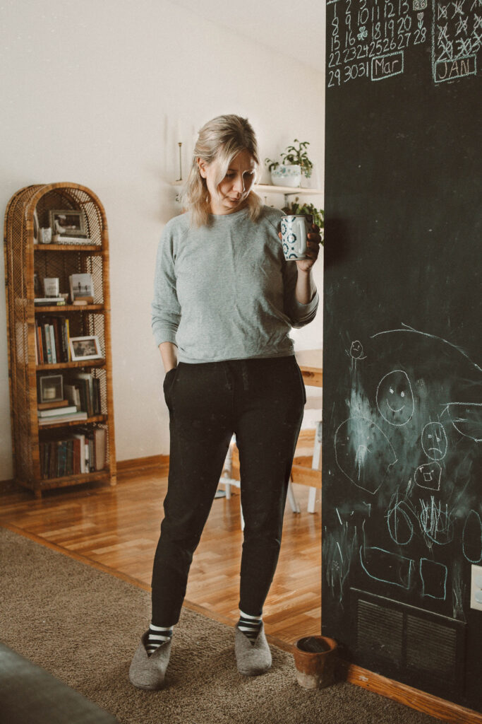 Real Winter Outfits Day 3: How to Keep Blonde Bright & Healthy, Tradlands sweatshirt, black joggers