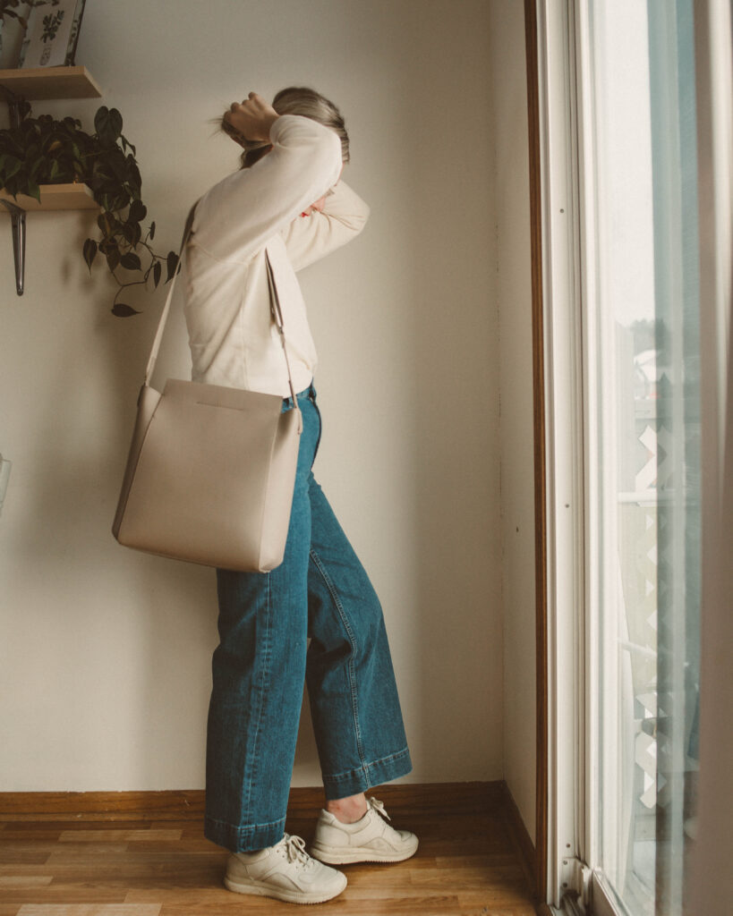 Week of Outfits: Winter Dressing at it's Finest, Everlane Wide Leg Jean, Everlane TREAD sneakers, Everlane purse