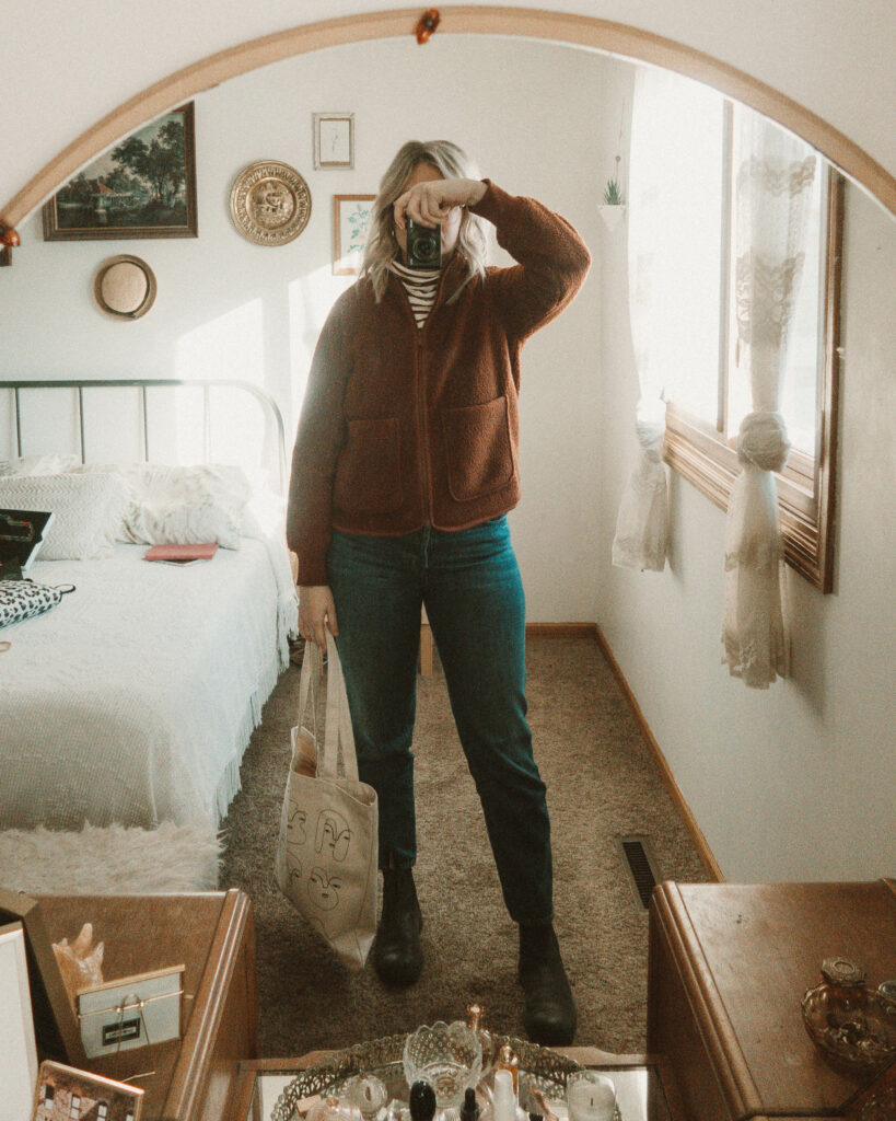Weekend Outfit Roundup Vol. 1, Striped Turtleneck, Madewell Fleece, J Brand Denim, Blundstone Boots
