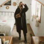Weekend Outfit Roundup Vol. 1, Long Black Teddy Bear Coat, Sugar Candy Mountain Linen Dress, Everlane Knee High Boots, Snake Print Bag