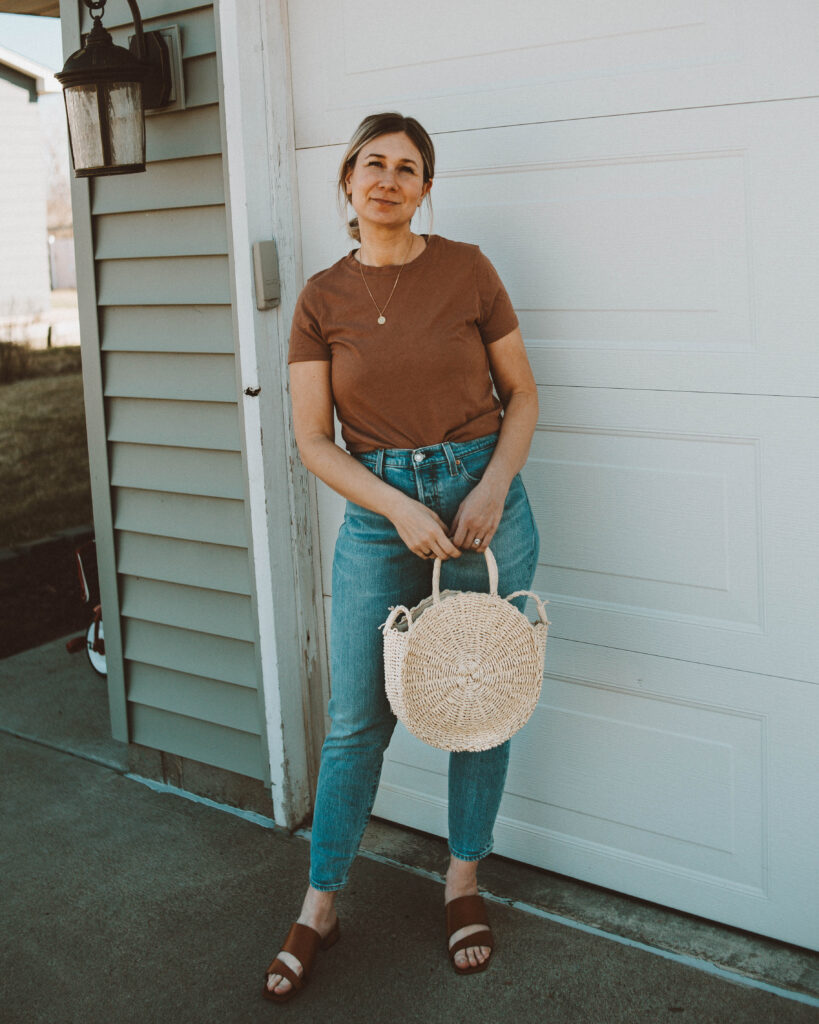 So here's what I actually wore this week, michael stars camel colored tee, levi skinny straight jeans, circle straw bag, m. gemi trunk leather sandal