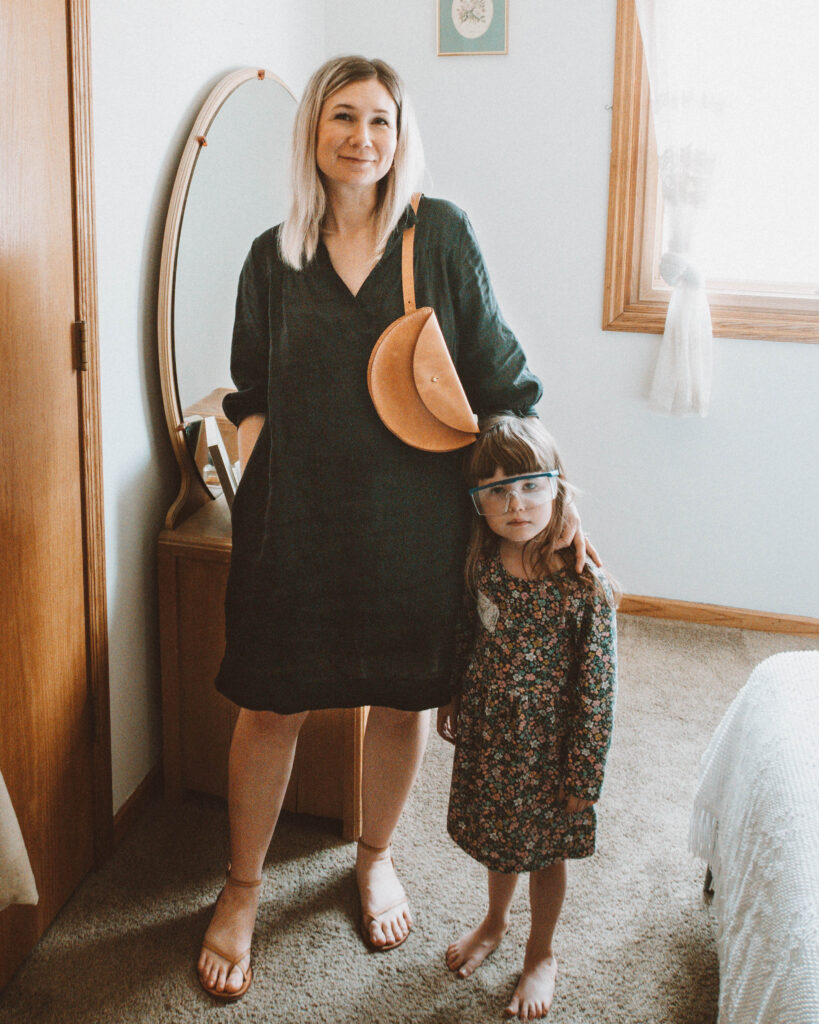 Easy Spring Outfits for Working at Home, sugar candy mountain sabine dress, black linen dress, strappy nude sandals, leather fanny pack, hip bag, bum bag