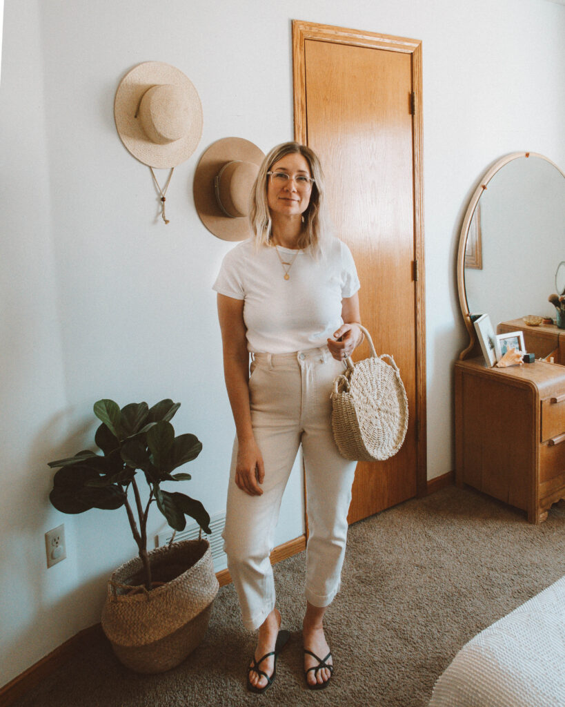 Easy Spring Outfits for Working at Home, michael stars white tee, everlane straight leg crop, everlane black strappy sandals, straw circle bag, antique circle mirror vanity