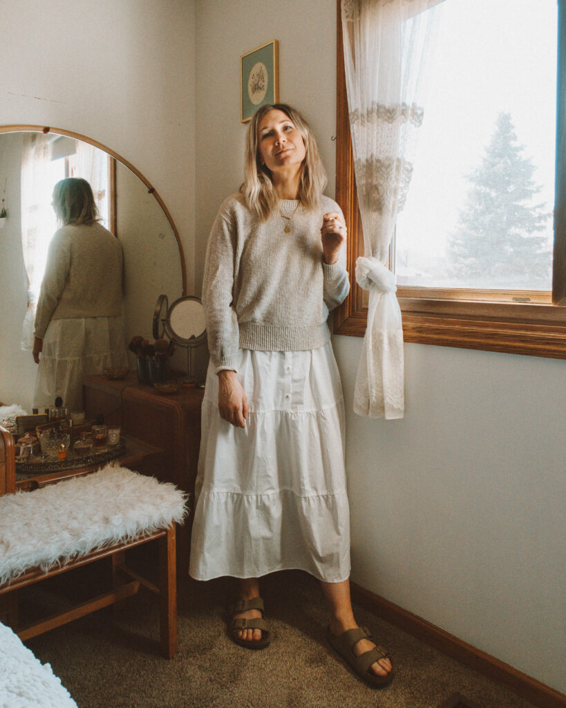 Easy Spring Outfits for Working at Home, antique circle mirror vanity, everlane cotton sweater, white tiered skirt dress, birkenstock arizona outfit