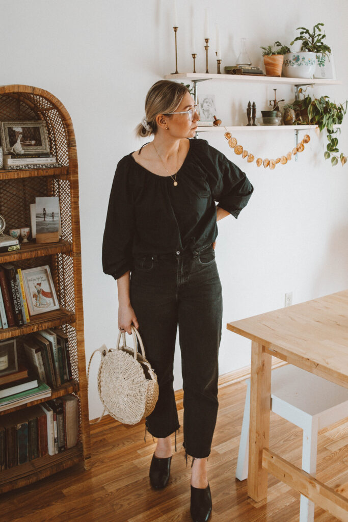 5 Spring Outfits: Lots of Linen and Flowy Fabrics vintage black denim, everlane day mules, circle straw bag, everlane air blouse