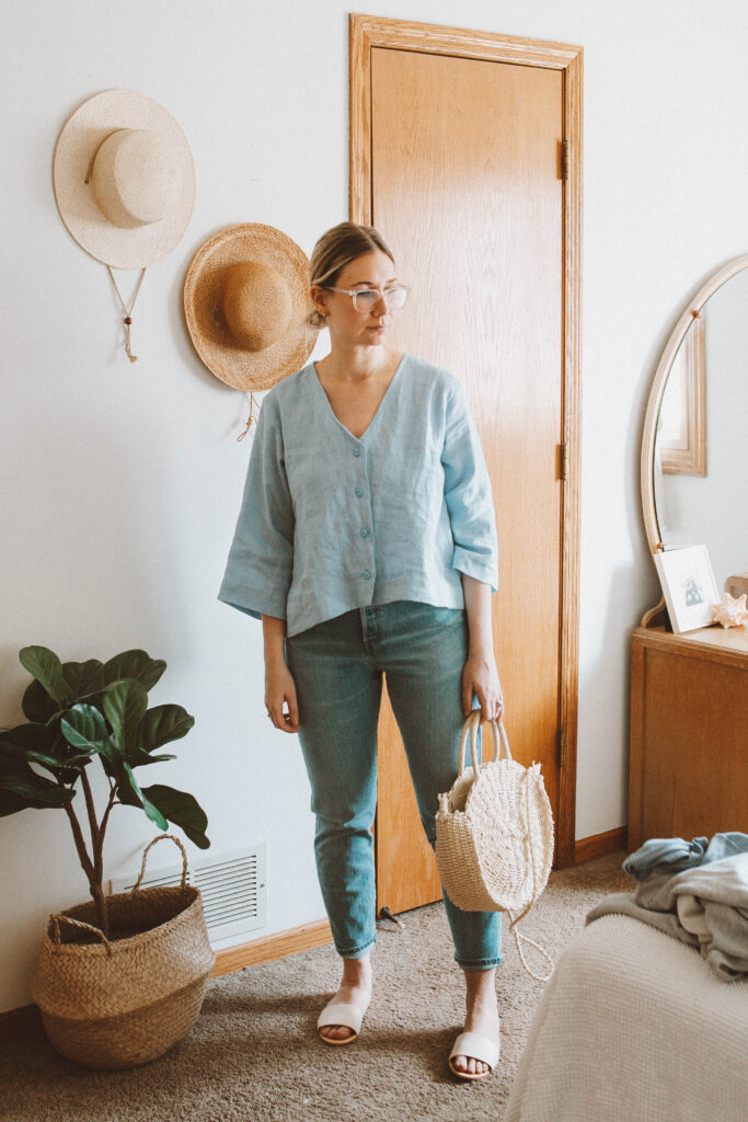 5 Spring Outfits: Lots of Linen and Flowy Fabrics man in the studio linen blouse, pale blue linen blouse, levi straight leg jeans, nisolo isla slide bone