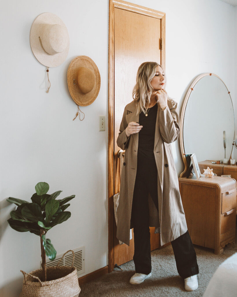 Styling a Basic Tee: 10 Different Outfit Ideas, black everlane microrib tee, drapey trench coat