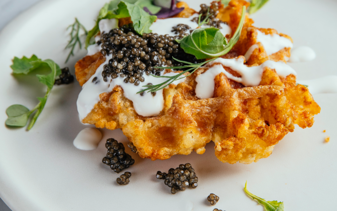 2 Caviar Recipes: Tater Tot Waffles with Creme Fraiche | Classic Deviled Eggs with Summer Flowers