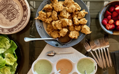 "Recipe: Crab Fritters with Green ""Sea"" Goddess Dressing & Chipotle Mayo"
