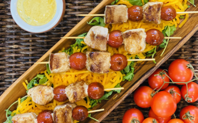 Recipe: Yellowfin Tuna Skewers with Curry Sauce and Maple Glazed Butternut Squash