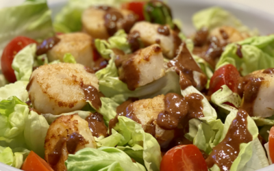 Recipe: Glazed Scallops with Cumin Butter Leaf Salad