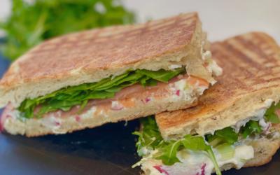 Recipe: Smoked Salmon Panini with Caper Cream Cheese and Arugula