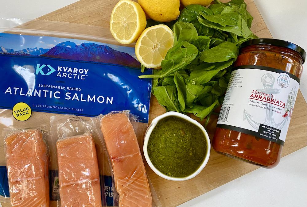 Recipe: Pesto Crusted Salmon with Sauteed Spinach & Kelp Arrabbiata Sauce