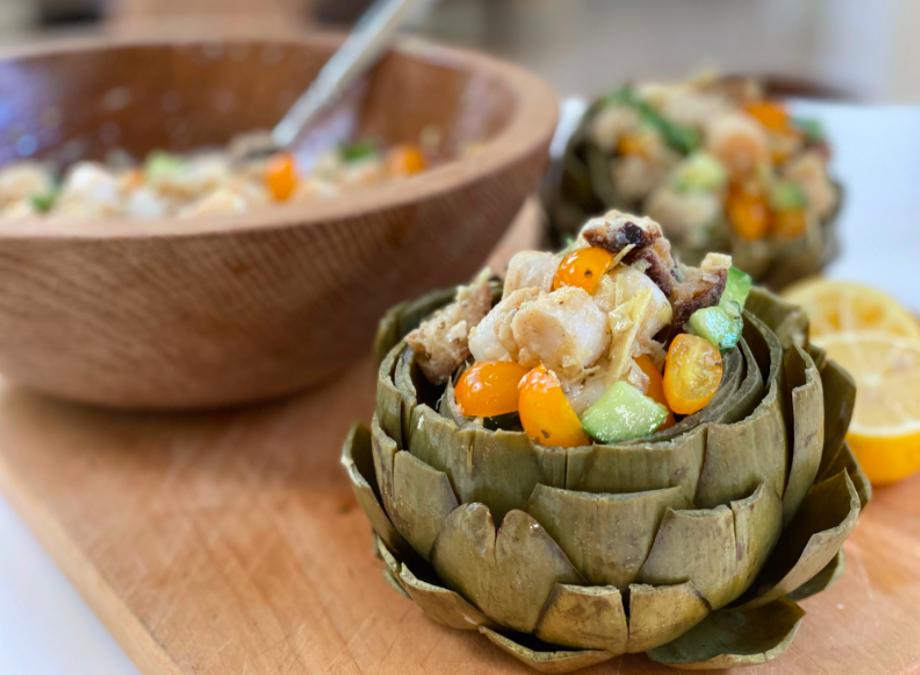 Recipe: Stuffed Artichokes with Plant-Based Sea Scallop  Panzanella