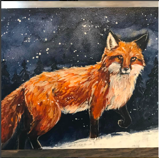 Intuitive painting of my fox guide by Brittany Burkard