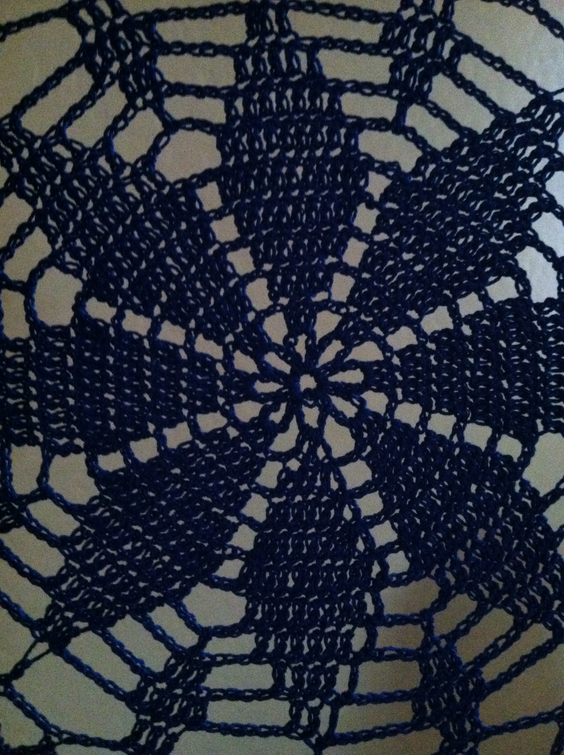 blue crocheted hanging