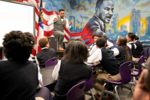Fleming teaching at the Ron Clark Academy