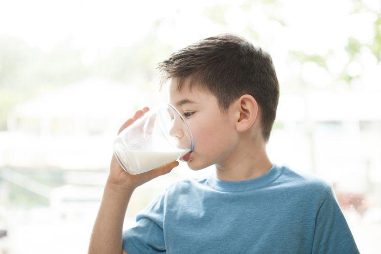 Boy drinking milk