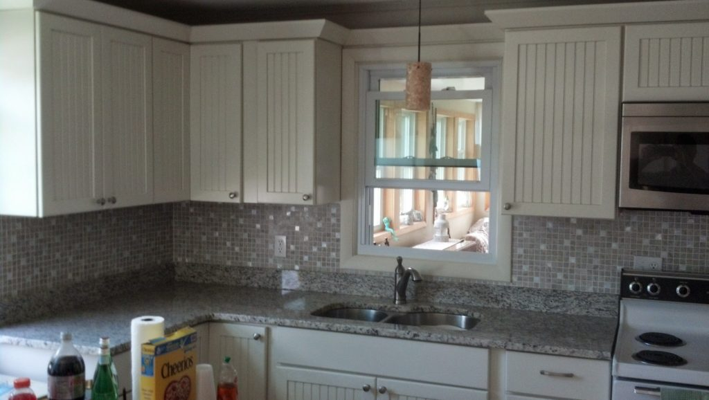 newly installed kitchen cabinets