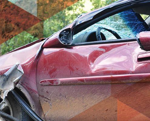 wrecked car drive door red