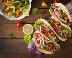 tacos and salad