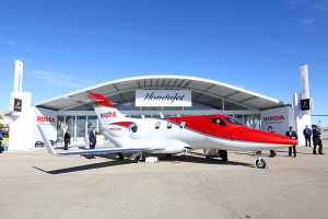 A production HondaJet on display at Henderson Executive Airport in Las Vegas during the 2015 National Business Aviation Association Convention and Exhibition.