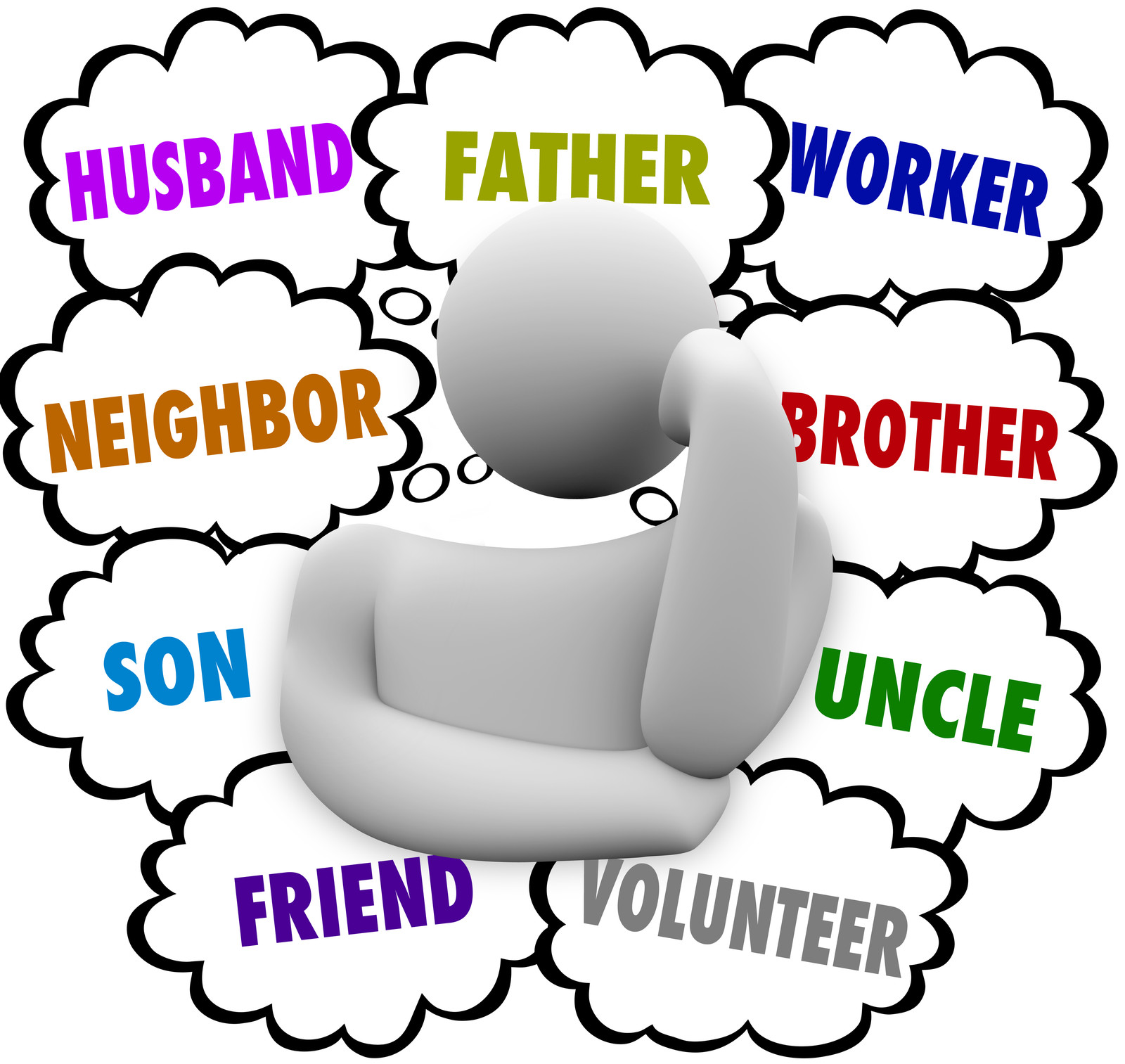 word cloud with roles a man plays in life including father, husband, brother, worker, uncle, volunteer, friend, neighbour, husband and son