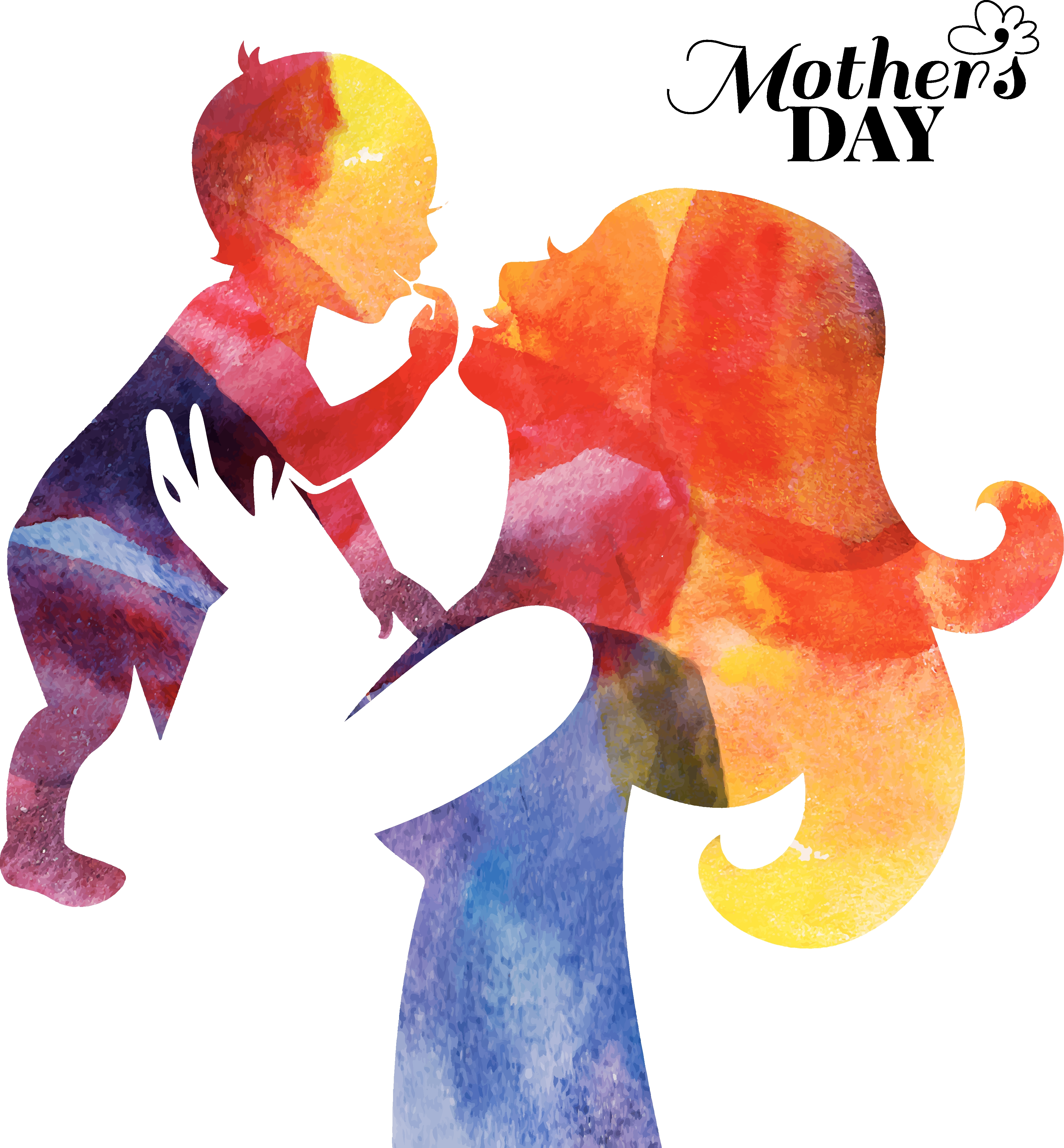 Graphic of mother holding up a young child