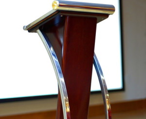 Lectern in front of screen