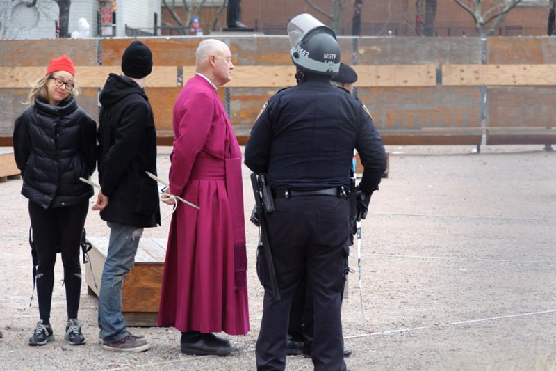 Bishop George Packard being arrested at Duarte Park
