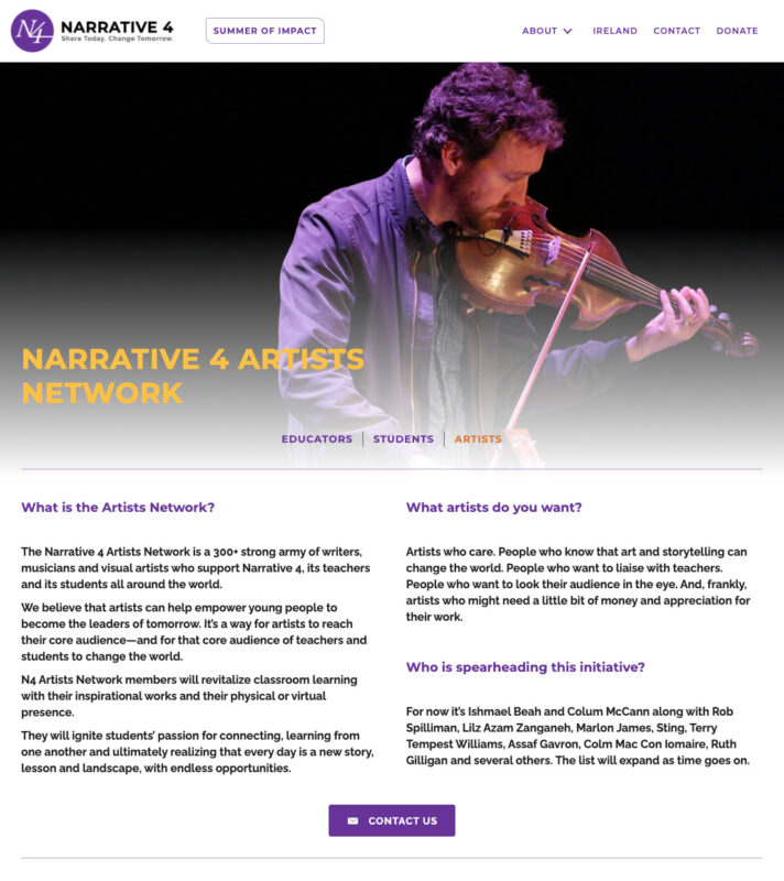 Website design to celebrate Narrative 4 Artists Network by Adrian Kinloch