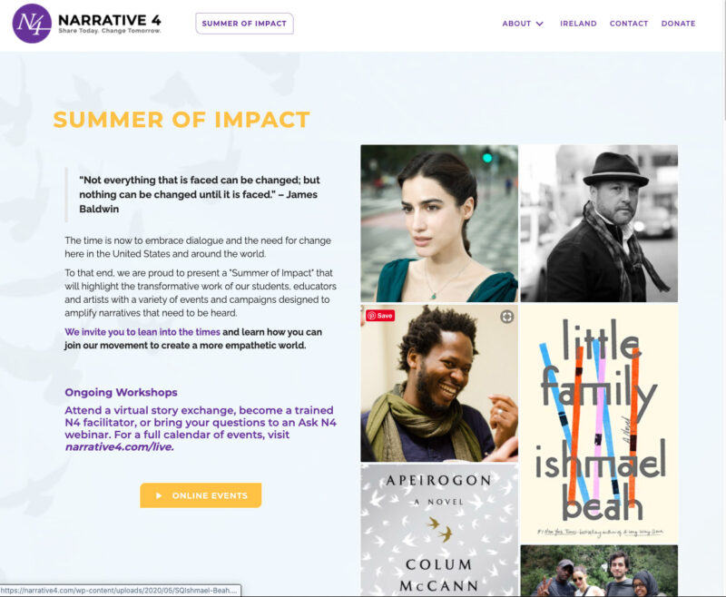 Narrative 4 Summer of Impact engagement creative by Adrian Kinloch