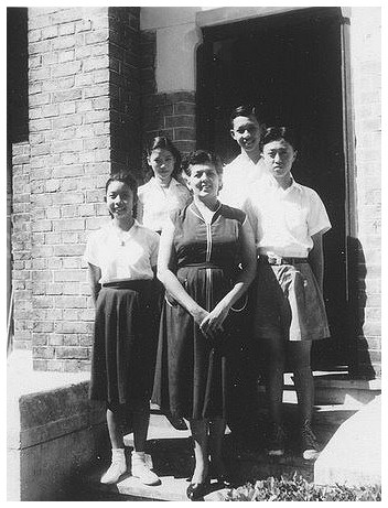 Junior Head Prefects (1956-1957)-First row (L-R): Patricia Kyi, Mrs. Greenwell Second row (L-R): Lily Hwang, Frank Chiong Third row (L-R): Jon Chen courtesy of Jon Chen - Dec 22, 2008