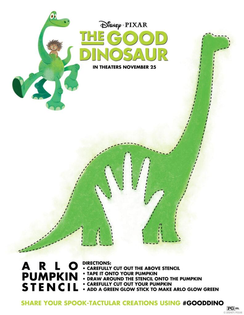 Disney•Pixar The Good Dinosaur Pumpkin Stencil and Activity Sheet