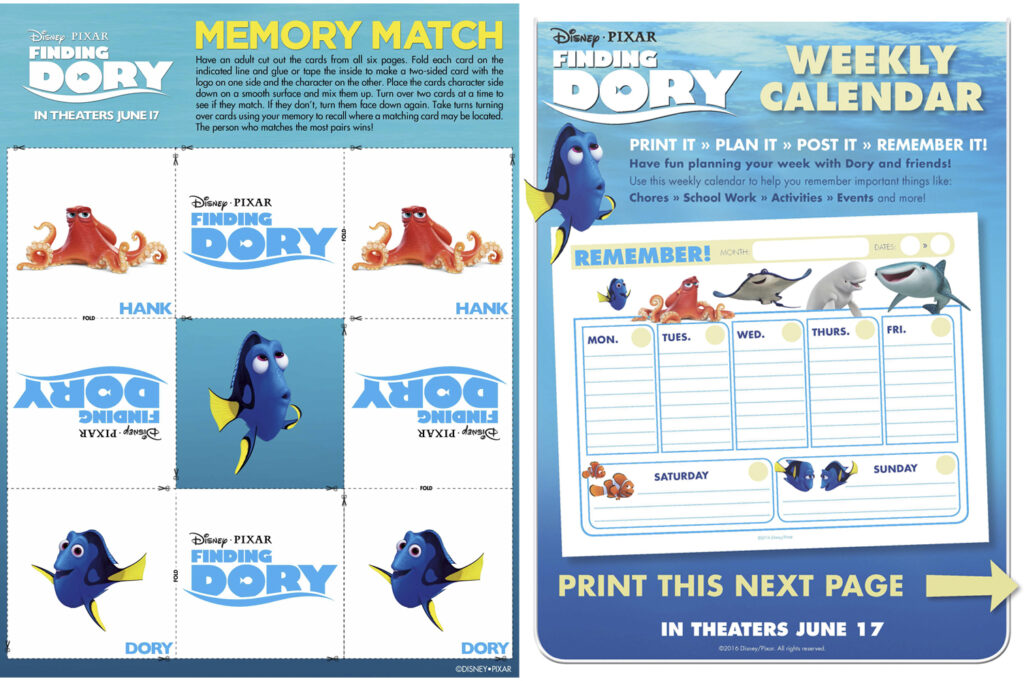 Finding Dory Memory Game, Calendar, and Character Mobile