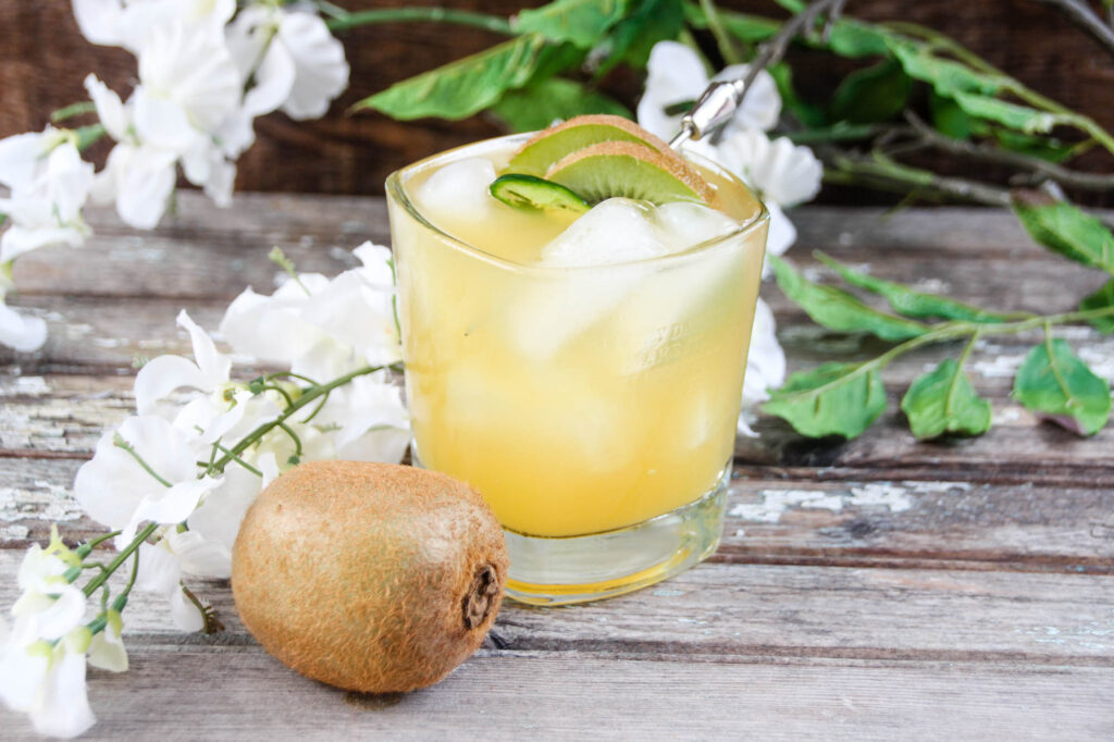 Take your taste buds on a trip to the islands with this Spicy Tropical Bourbon Cocktail, boasting with the flavors of grapefruit, pineapple, and fresh kiwi.