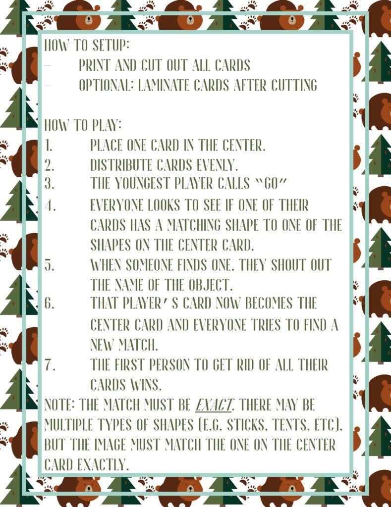 Free Printable Seek It Game Camping