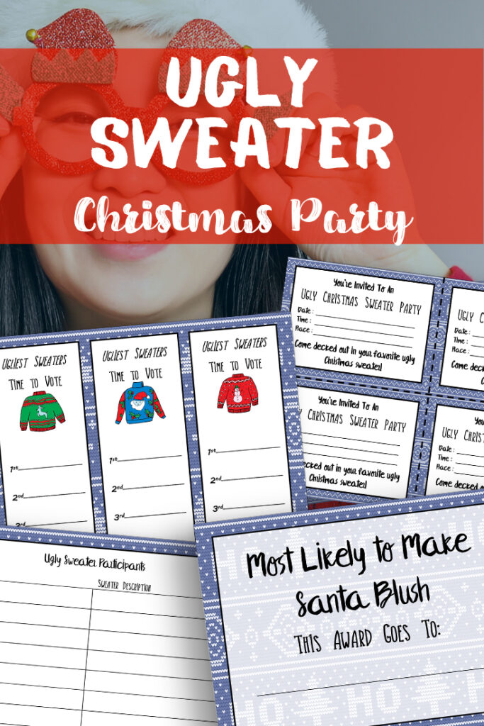 Download and print the free printable Ugly Christmas Sweater Party Kit to help you throw the best holiday competition of the season.