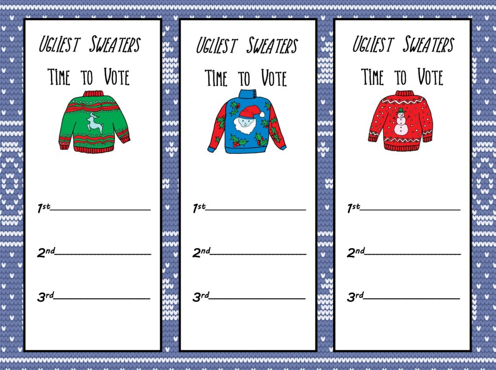 Free Printable Ugly Christmas Sweater Party Kit