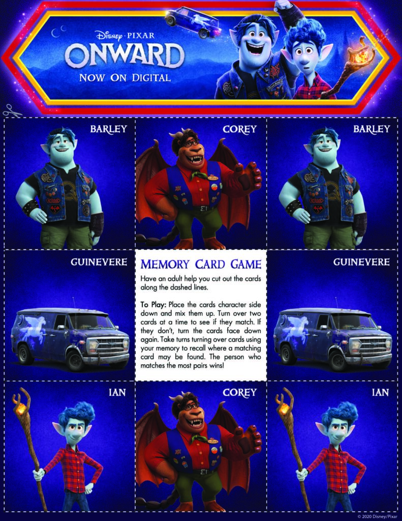 Disney Pixar's ONWARD Activity Pages