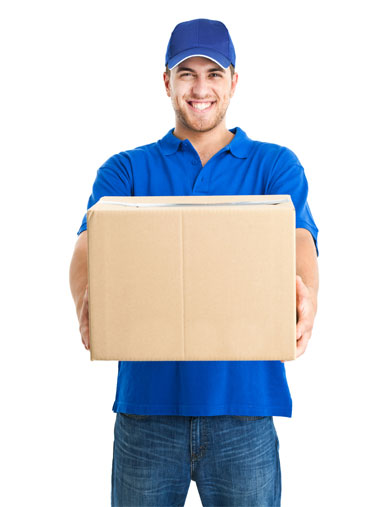 delivery man in blue